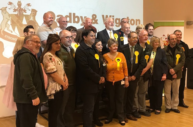 2017 Parliamentary Candidate Zuffar Haq with newly-elected Liberal Democrat Borough Councillors after the count on Friday